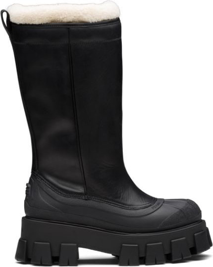 Prada Monolith shearling-lined boots