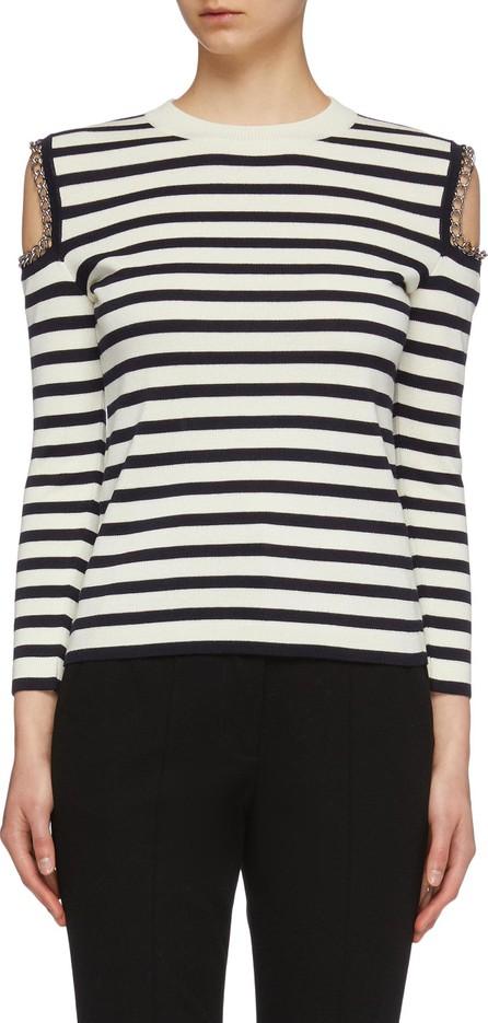 Alexander McQueen Chain cold shoulder stripe wool sweater