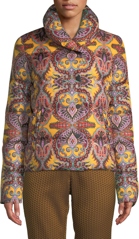 Etro Paisley-Print Snap-Front Short Puffer Jacket