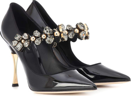 Dolce & Gabbana Crystal-embellished leather pumps
