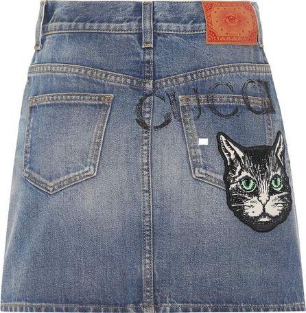 Gucci Embroidered denim miniskirt