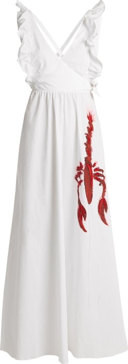 Adriana Degreas Lobster-print cotton-poplin maxi dress