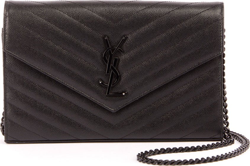 3ba6376b Saint Laurent Monogram YSL Small Matelasse Envelope Chain Wallet ...