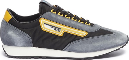 Prada 'MLN70' logo patch suede panel sneakers