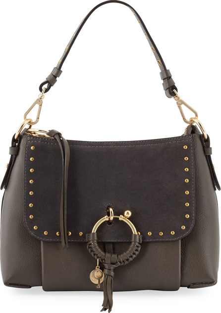See By Chloé Hana Small Studded Leather & Suede Crossbody Bag