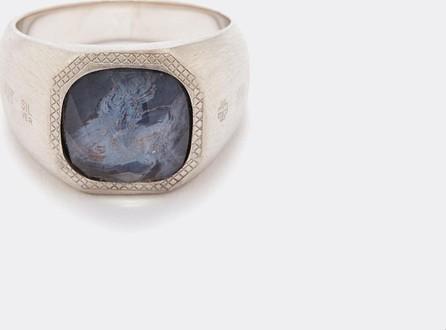 Tateossian 'Doppione' pietersite rhodium silver signet ring