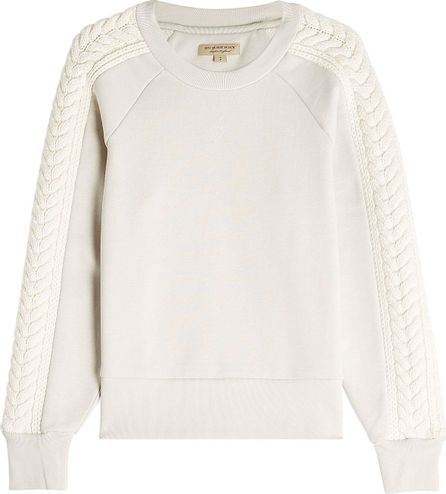 Burberry London England Cotton Sweatshirt with Knit Detail on Sleeves