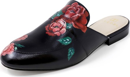 Alepel Hand-Painted Rose Flat Slide Mules