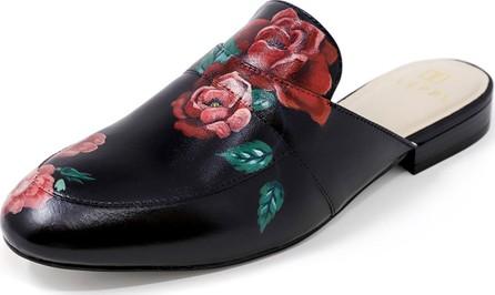 Alepel Hand-Painted Rose Flat Slide Mules