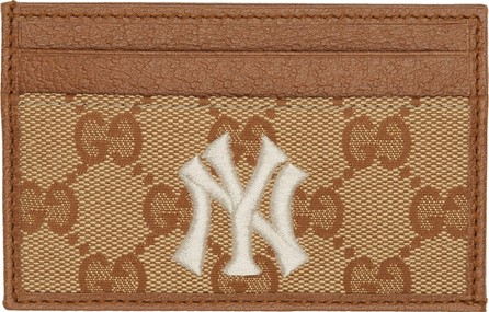 Gucci Beige & Brown NY Yankees Edition Small GG Patch Card Holder