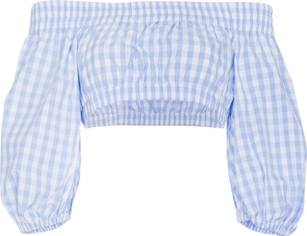 Adam Selman Gingham bardot cotton cropped top