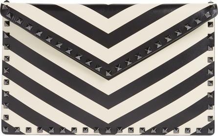 Valentino Rockstud Chevron Calfskin Leather Pouch