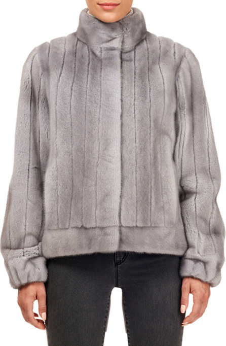 Gorski Vertical Mink Fur Jacket w/ Sheared Insets