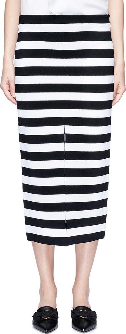 Proenza Schouler Centre split stripe jersey midi pencil skirt