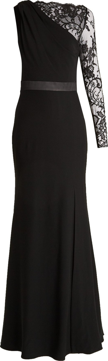 Alexander McQueen One-shoulder lace and crepe gown