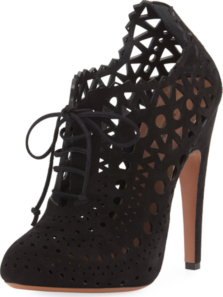 Alaïa Laser-Cut Lace Ankle Booties