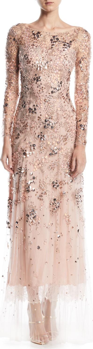 Jenny Packham Comet Bateau-Neck Long-Sleeve Beaded Evening Gown w/ Lace Trim