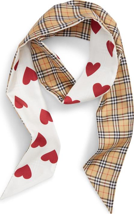 Burberry London England Heart & Check Silk Skinny Scarf