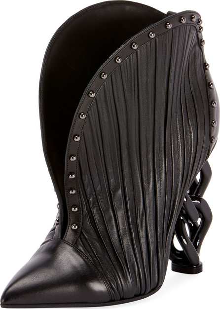 Balmain Ines Pleated Studded Chain-Heel Bootie
