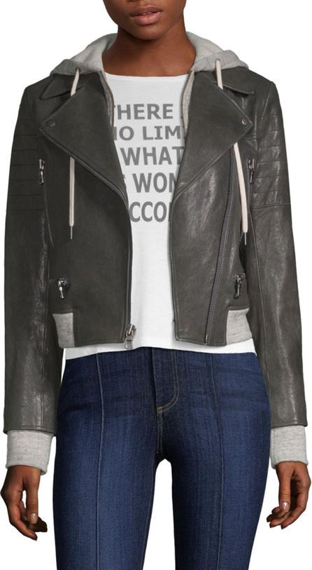 AO.LA by alice + olivia Avril Hooded Leather Moto Jacket