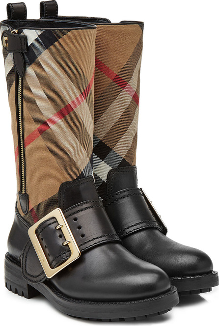 Burberry London England Boots with Check Printed Fabric