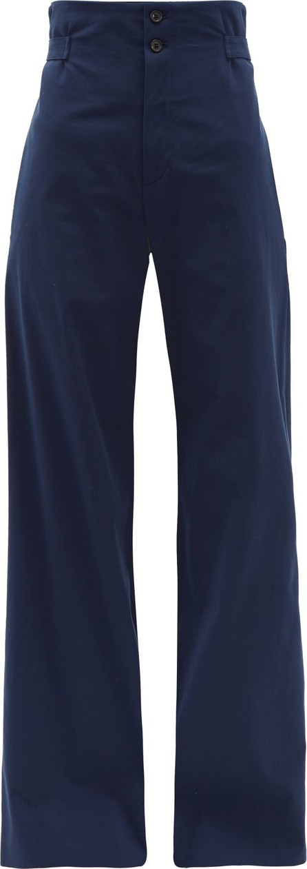Connolly High-rise cotton-blend wide-leg trousers
