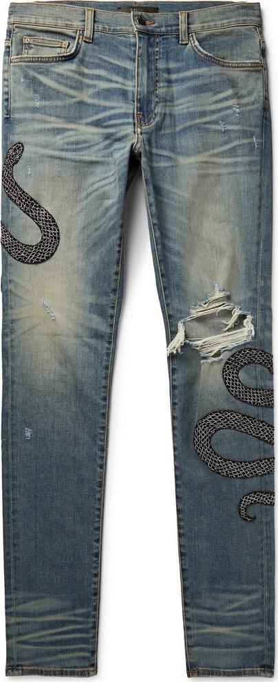 Amiri Skinny-Fit Appliquéd Distressed Stretch-Denim Jeans