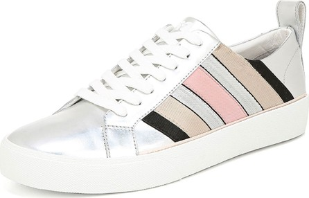 DIANE von FURSTENBERG Tess Striped Metallic Leather Sneakers
