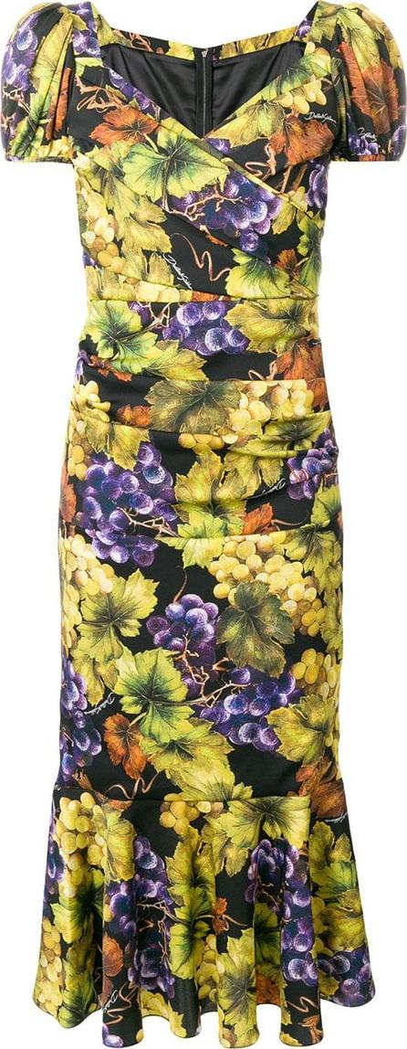 Dolce & Gabbana Grape-print fluted midi dress