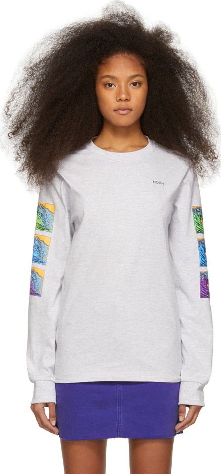 Noah NYC Grey Waves Long Sleeve T-Shirt