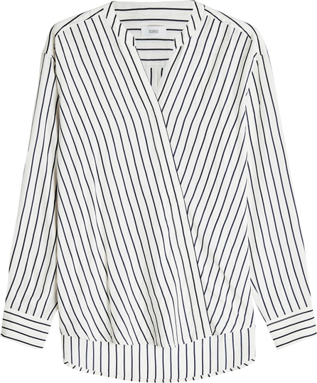 Closed Striped Wrap Blouse with Silk