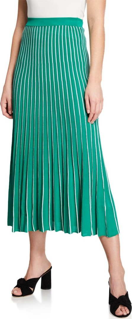 ASTR Yuri Striped Pleated Midi Skirt