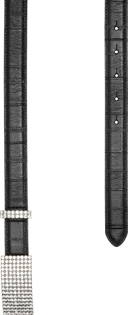 Alessandra Rich Leather Belt with Embellished Buckle