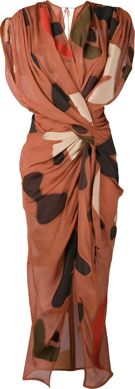 Jacquemus Print draped midi dress