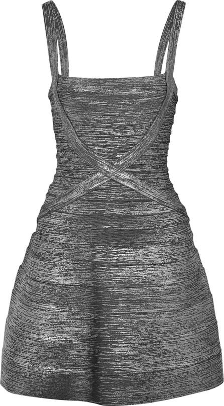 Herve Leger Faith metallic bandage mini dress