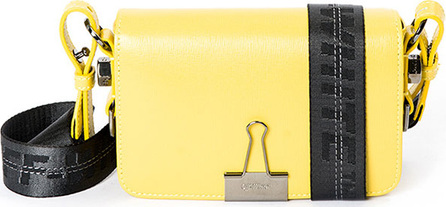 Off White Mini Logo-Stripe Leather Flap Bag with Binder Clip