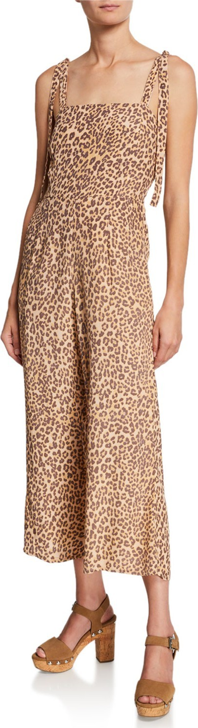 FAITHFULL Elsa Sleeveless Leopard-Print Wide-Leg Jumpsuit