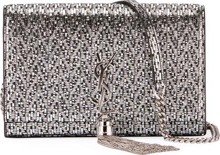 Saint Laurent Kate Monogram Tassel Mini-Chevron Metallic Leather Wallet on a Chain