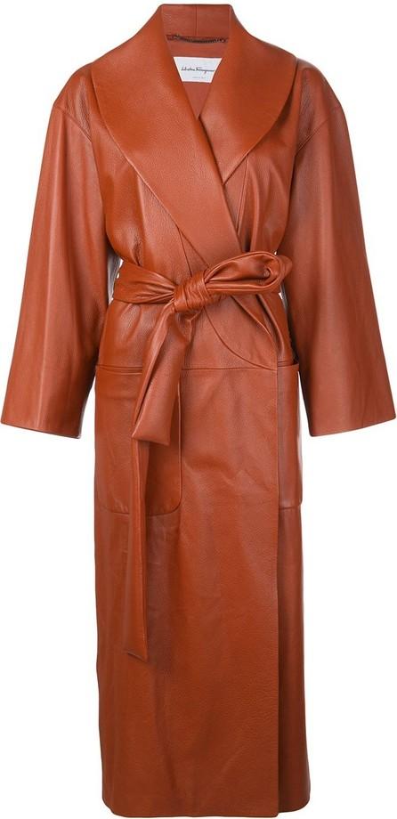 Salvatore Ferragamo Leather wrap coat