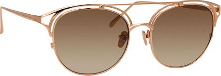 Linda Farrow Round Cutout Titanium Sunglasses