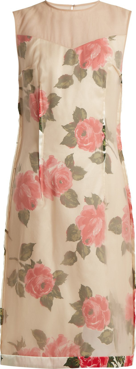 Raw-edge rose-print organza dress