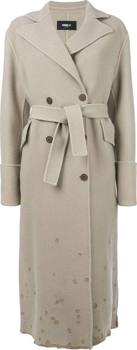 Yang Li belted double breasted coat with distressed effects