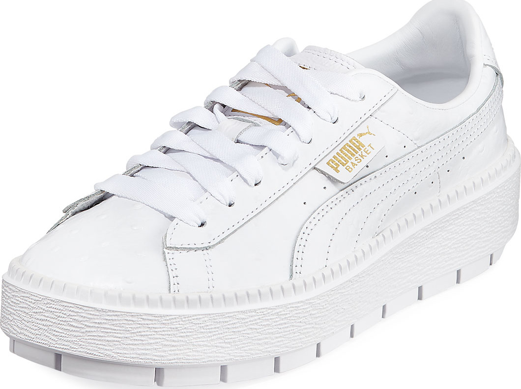 d0a2e1e67b03ec PUMA Basket Trace Ostrich-Embossed Platform Sneaker - Mkt