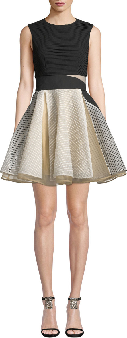 Aijek Lara Jacquard Circular Mini Dress