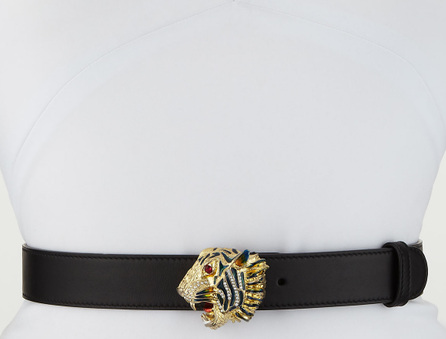 Gucci Animailer Tiger-Buckle Leather Belt