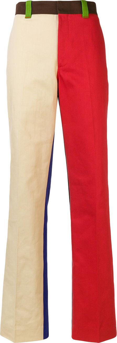 Straight leg colourblock trousers