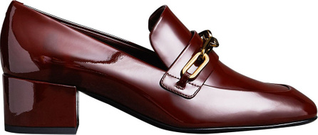 Burberry London England Link Detail Patent Leather Block-heel Loafers