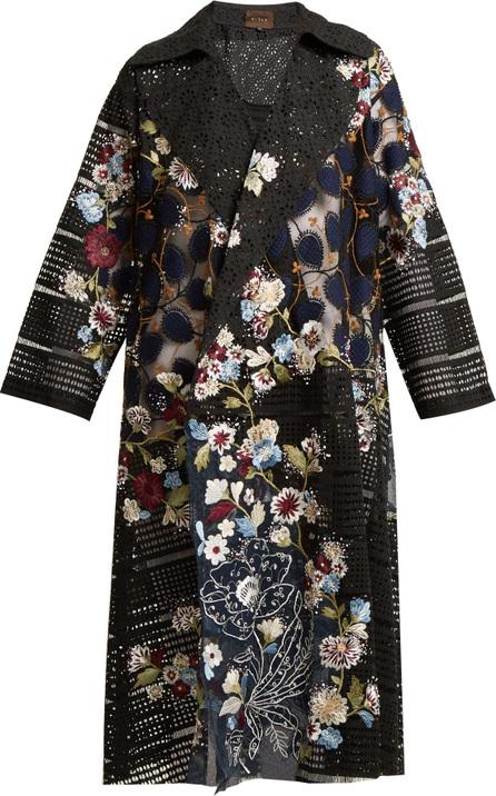 Biyan Floral-embellished lace cotton-blend coat