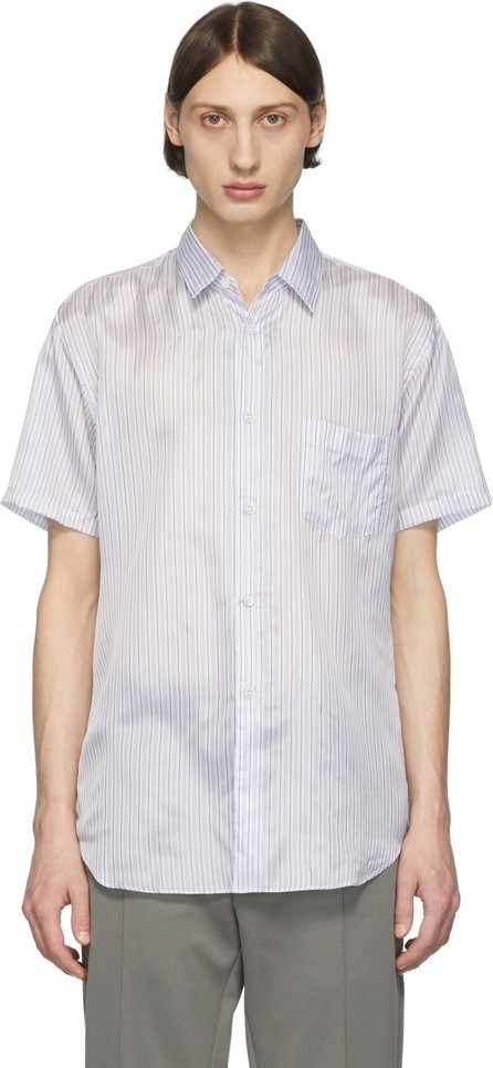 Comme Des Garcons White & Blue Striped Cupro Short Sleeve Shirt