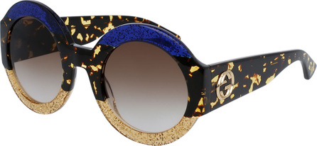 Gucci Glittered Oversized Round Sunglasses, Blue/Beige/Tortoise